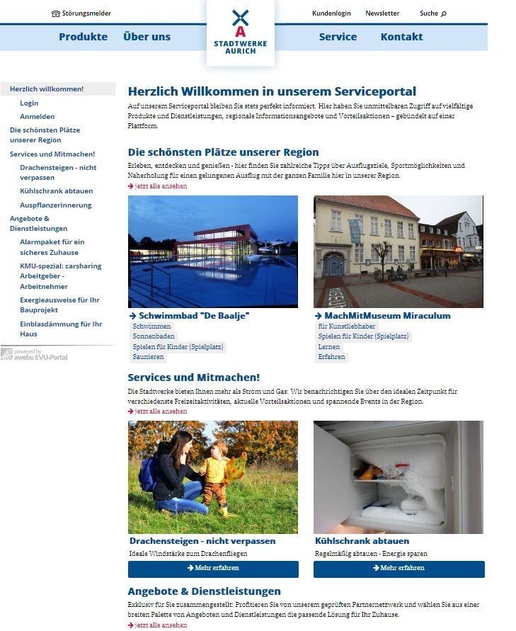 Erstes EVU-Portal bei den Stadwerken Aurich online gegangen