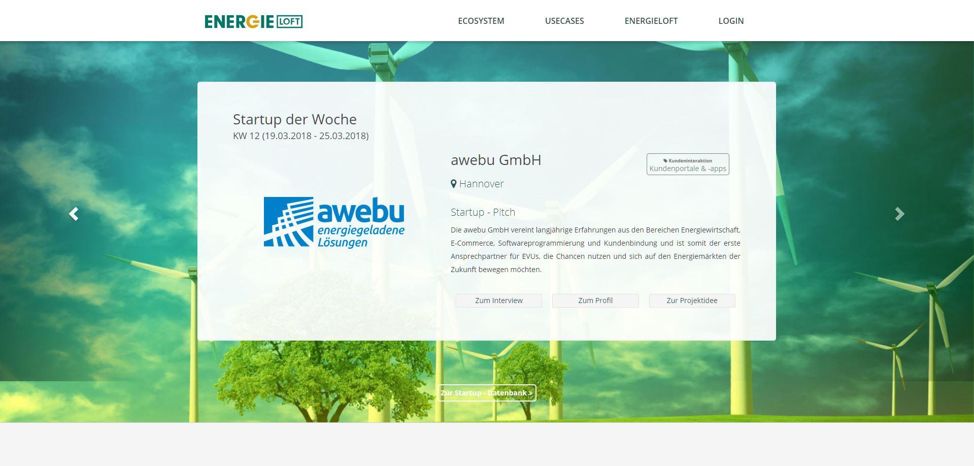 Die awebu GmbH ist StartUp der Woche bei energieloft!